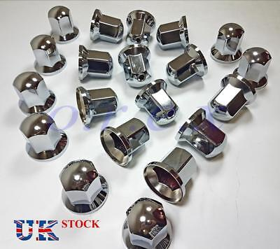 20x 32mm LONG Lux Plastic CHROME Wheel Nut Cover Cap Truck Scania Mercedes Volvo