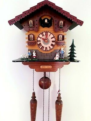German Black Forest Handcrafted Cuckoo Clock-HEIDI HAUS w/t Music Play