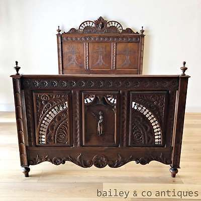 Antique French Bed Chestnut Carved Breton Double - Magnificent - OF041
