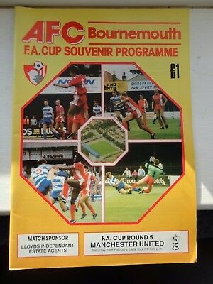 AFC BOURNEMOUTH vs MAN Utd MANCHESTER UTD FA cup 18.02.89 football programme