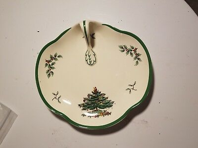 Spode Christmas Tree Snack Dish with Handle England Holiday Serving