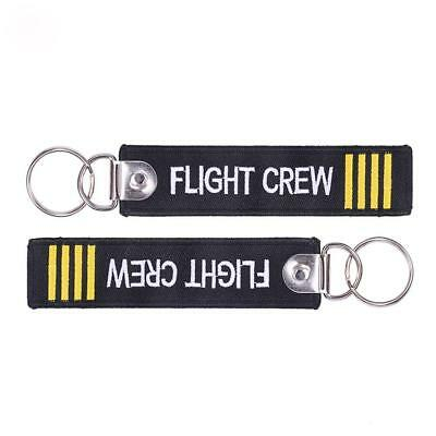Flight Crew Keychain Keyring Embroidery Luggage Tag Motorcycle Key Chain-Ring be