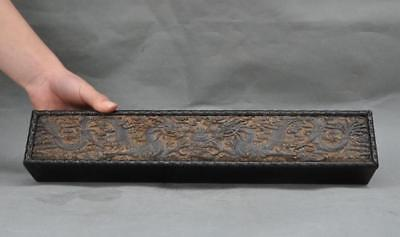 """15"""" old chna chinese Rosewood wood carved dragon beast statue Drawn box boxes"""