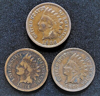 Lot Of 3 Indian Head Cents 1894-1906-1904 Combined Shipping 1915