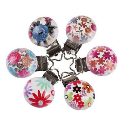 5X Baby Mixed Colored flowers Pacifier Clip Safety Wooden Teether Accessories