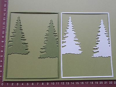 Die cuts - Christmas Tree Frames x 4 Background 2 green 2 white Embellishments