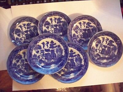 Vintage Occupied Japan, Childs Dishes, 7 Pieces, Blue Willow