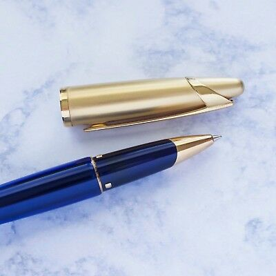 Waterman Edson Sapphire Blue & Gold Plated Trim Rollerball Pen