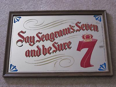 Vintage Seven-Say Seagrams Seven Mirror Beer Advertising Whiskey Sign Bar Pub