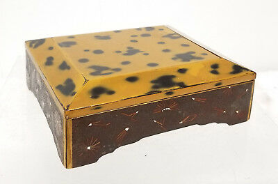 Antique Vintage Fine Japanese Lacquer Covered Box Faux Tortoiseshell Gilt