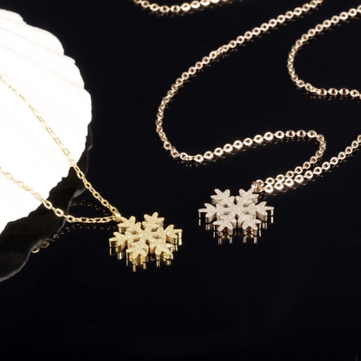 Fashion Unisex 316L Stainless Steel snowflake Chain Pendant Necklace Gift GX1031