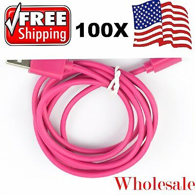 100 x Wholesale Lot 4ft USB Data Sync Charger Cable Cord for Apple iPhone 5 6 7