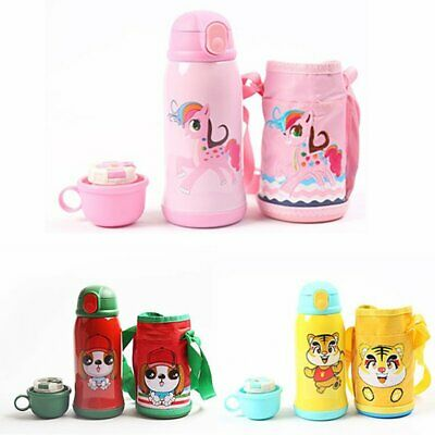 Kids Insulated Cartoon Water Bottles Thermos Straw Cup Portable Home School Gift