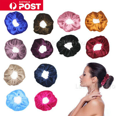 12Pcs Large Fashion Velvet Hair Scrunchies Elastic Scrunchy Ponytail Holder AU