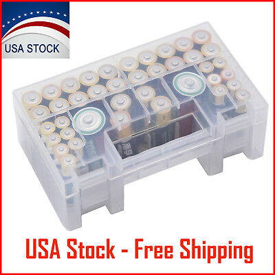 AA AAA C Battery Storage Case Battery Holder Organizer Container Clear Plastic
