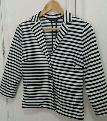 Women's Black & White Stripe 3/4 Sleeve Blazer Size S