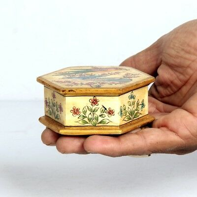 Vintage Hand Painted Sparrows On Solid Camel Bone Trinket Box 11087