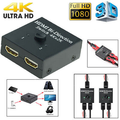 1pcs 2x1 1x2 HDMI Bi-Directional Switch Splitter Support 3D 1 in 2 out 2 in 1out