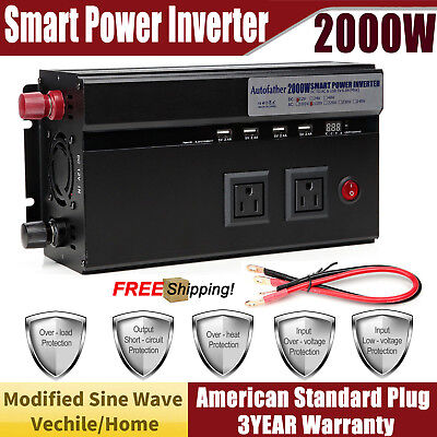 Car Caravan 2000W/4000W Peak Modified Sine Wave Power Inverter DC 12V to AC 230V