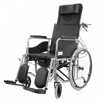 Folding Drive Reclining Wheelchair Medical Seat with Padded Arm Leg Neck Support
