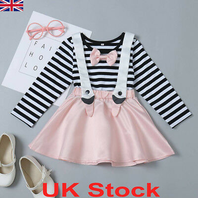 Toddler Kids Baby Girl Dress Outfits Tops Shirt Bow Short Skirt Clothes 2PCS Set