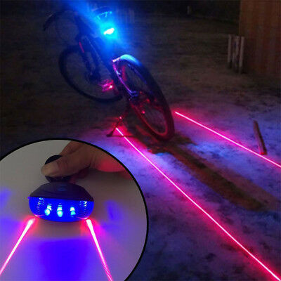 5 LED+2 Laser Warning Lamp Light Rear LED Safety Tail Light for Bicycle Bike 1pc