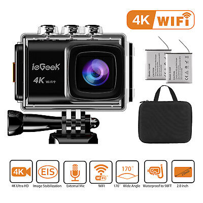ieGeek Action Camera 4K 20MP Wi-Fi 30M Underwater Sports Cam With Mounting Kit