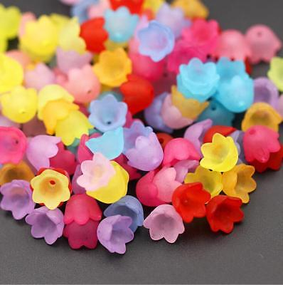 100pcs Mixed Flower Frosted Acrylic Spacer Beads Caps Jewelry Accessorie DIY 9mm