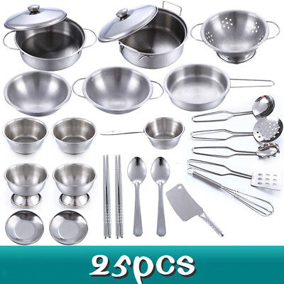 25pcs Childrens Kids Play Kitchen Toys Set Food Stainless Steel Cooking Utensils Pre School Games Toys Games Other Pre School Young Children Toys