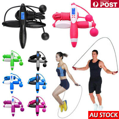 Electronic Counting Skipping Rope Rubber Handle Magnetic Control Gym Excercise