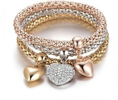 3 Pcs/Set Crystal Heart Charm Bracelets & Bangles Rose Gold Silver Popcorn Chain