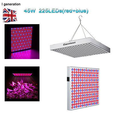45W Hydroponic Plant Grow Lights Panel Vegetable Flower Hanging Lamp 225 SMD LED