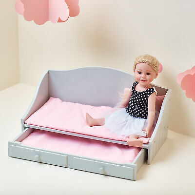"Olivias World 18"" Baby Doll Wooden Furniture Trundle Bed Dolls Play Toy TD0096AG"