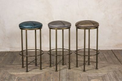 Upholstered Faux Leather Bar Stools Aged Brass 3 Colours