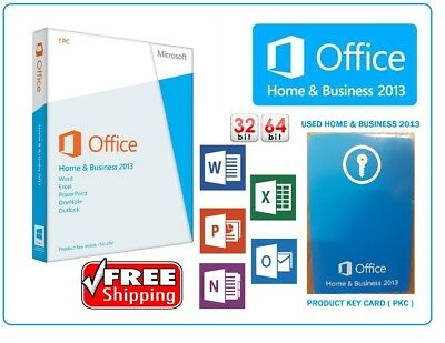 USED Microsoft Office Home & Business 2013 32/64Bit PKC CARD W7,8,10 LIFETIME