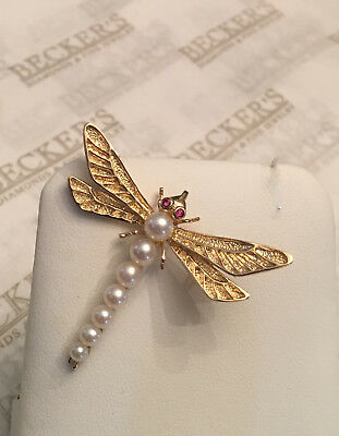 14k yellow gold Carved Dragonfly Pendant & Pin Graduated 7 Pearl Body Ruby Eyes