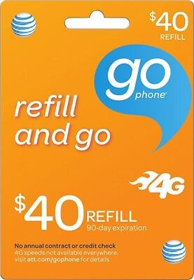 $40 AT&T GoPhone Refill Card EBAY DELIVERY(Read Description)