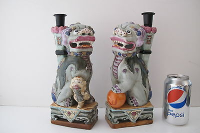 """Vintage Pair Chinese Famille Verte Porcelain Foo Dog Statues Signed 11"""" tall"""