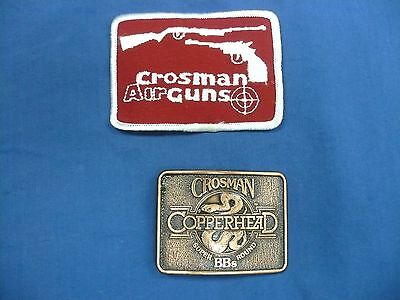 True Vintage  Crosman Air Guns Patch & Copperhead Bb's  Belt Buckle Bb Set Lot 2