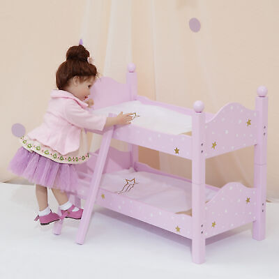"""Pink Doll Bunk Bed 18"""" Dolls Wooden Furniture Bedroom Toy Role Play TD-0095AP"""