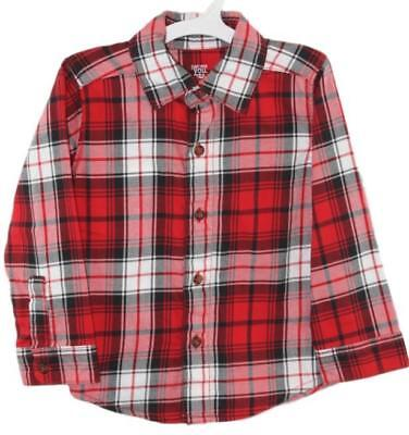 Carters Just One You Toddler Boys Red Plaid Button Down Long Sleeve Shirt 18 Mo