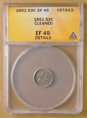 1851 Three Cent Silver ANACS EF 45 Details