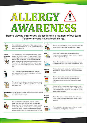 ALLERGY AWARENESS FOOD SAFETY SIGN POSTER  A4 A3 A2 A1 A0 Waterproof & Tearproof