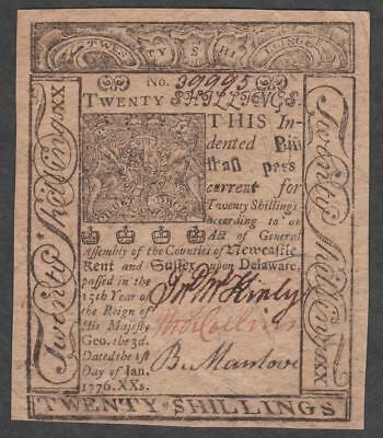 "DE-80 ""Choice About Uncirculated""  20s  Jan. 1, 1776 Delaware Colonial Note"