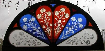 Arched Victorian Wheel Cut Flash Glass Stained Glass Window Rare 1880's