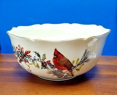 "LENOX china WINTER GREETINGS pattern round bowl 8"" across 4"" tall"