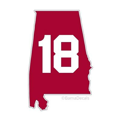 "Alabama Crimson Tide 18 State Outline Decal Sticker 4"" National Champs (2020?)"