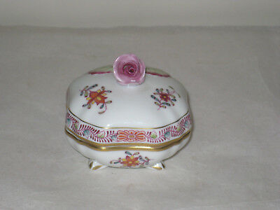 Vintage  Herend Covered Footed Trinket Box With Rose Top