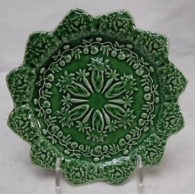 BORDALLO PINHEIRO Portugal RABBIT GREEN pattern Accent Salad Plate  8-1/4""