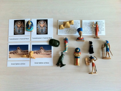 Montessori Egyptian Historical Replica 5 Part Cards Set with Miniatures